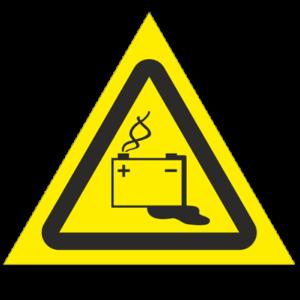 Знак - Осторожно. Аккумуляторные батареи W20