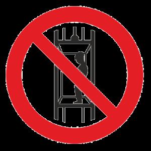 Знак - Запрещается подъем (спуск) людей по шахтному стволу Р-13