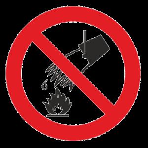 Знак - Запрещается тушить водой Р-04